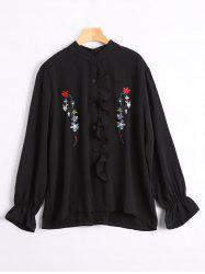 Ruffle Long Sleeve Embroidered Plus Size Shirt