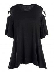 Plus Size Open Shoulder Swing T-shirt