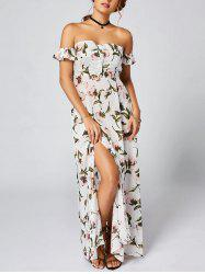Off Shoulder Floral Maxi Bandeau Dress