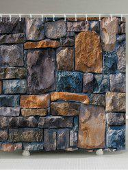 Stone Brick Wall Print Fabric Waterproof Bathroom Shower Curtain - EARTHY