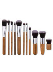 11Pcs Nylon Wooden Handle Makeup Brushes Set - WOOD