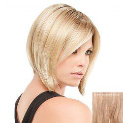 Short Inclined Bang Straight Inverted Bob Human Hair Wig - BROWN WITH BLONDE