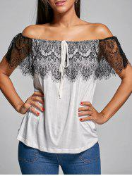 Convertible Lace Insert Drawstring Tee