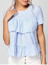 Short Sleeve Ruffle Stripe Top