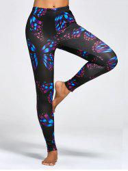 Butterfly Print High Waist Workout Leggings - COLORMIX
