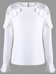 Ruffle Lace Panel Bell Sleeve Blouse