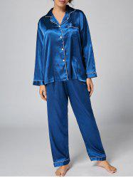 Button Up Long Sleeve Satin Pajama Set