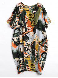Plus Size Fun Graphic Baggy Dress with Pockets -