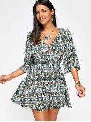 Half Buttons Elastic High Waist Print Dress