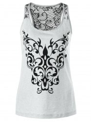 Bandana Floral Lace Trim Tank Top - LIGHT GRAY L