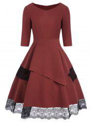 Layered Lace Trim Vintage Dress