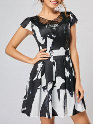 Lace Panel Ink Painting Fit and Flare Dress