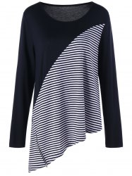 Plus Size Long Sleeve Striped Asymmetric Top