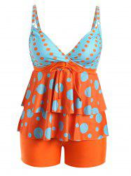 Ensemble Tankini Polka Dot Plus Size Flounce
