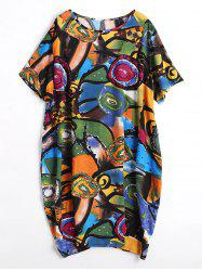 Funny Painting Plus  Size Baggy Dress with Pockets