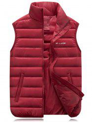 Graphic Print Stand Collar Zip Up Padded Waistcoat - RED 3XL