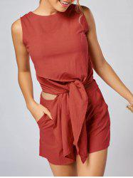 Knotted Sleeveless Top and Shorts Set - JACINTH XL