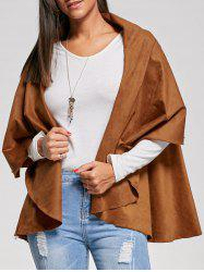 Open Front Faux Suede Cape Jacket