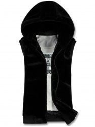 Hooded Zip Up Rib Panel Faux Fur Waistcoat