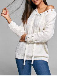 Lace Up Knit V Neck Sweater - OFF-WHITE