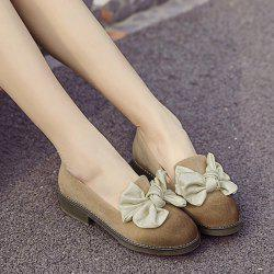 Suede Bowknot Flat Shoes