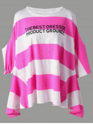 Color Block Graphic Striped Open Shoulder Tee