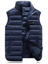 Graphic Print Stand Collar Zip Up Padded Waistcoat - CADETBLUE M