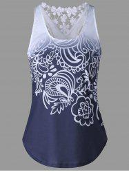 Lace Insert Ombre Printed Tank Top - PURPLISH BLUE