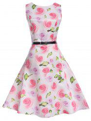 Floral Sleeveless Knee Length A Line Vintage Dress