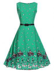 A Line Sleeveless Printed Vintage Dress