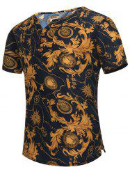Retro Leaves Printed Notch Neck Tee - COLORMIX XL