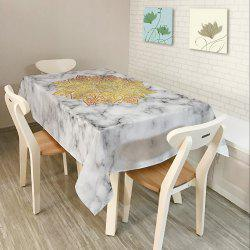 Mandala Marble Print Home Decor Table Cloth - WHITE