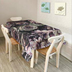 Flower Print Home Decor Fabric Table Cloth - BLACK