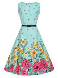 Bees Floral Sleeveless Vintage A Line Dress