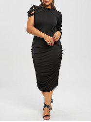 Plus Size One Sleeve Ruched Club Sheath Dress