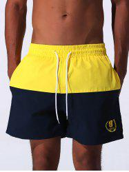 Color Block Panel Drawstring Embroidered Board Shorts - YELLOW L