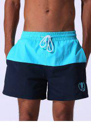 Color Block Panel Drawstring Embroidered Board Shorts