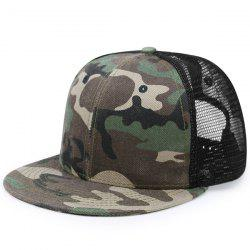 Mesh Splicing Flat Brim Baseball Cap
