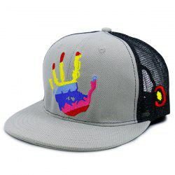 Mesh Spliced Multicolor Palm Printing Baseball Hat