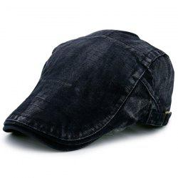 Denim Stripe Nostalgic Flat Cap - BLACK GREY