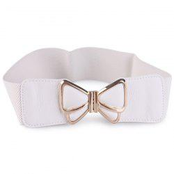 Butterfly Buckle Faux Leather Splicing Belt - WHITE