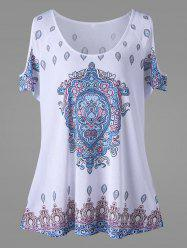 Cold Shoulder Tribe Print Plus Size Top