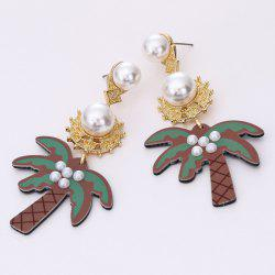Artificial Pearl Coconut Tree Drop Earrings