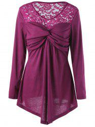 Plus Size Lace Yoke Twist Front Blouse