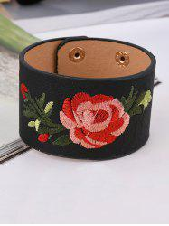 Faux Leather Chinese Flower Embroidery Bracelet -
