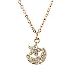 Star Moon Collarbone Pendant Necklace