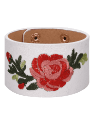 Faux Leather Chinese Flower Embroidery Bracelet