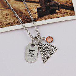 Rhinestone Bff Pendant Collarbone Necklace