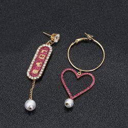 Rhinestone Heart Love Hoop Drop Earrings