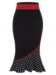 Polka Dot High Waisted Midi Skirt - BLACK